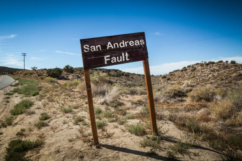 San Andreas Fault sign.