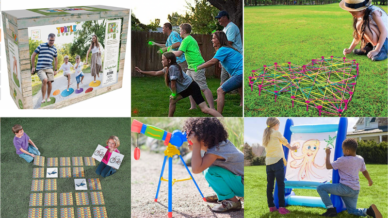 A collage of pictures of teacher approved outdoor toys for kids
