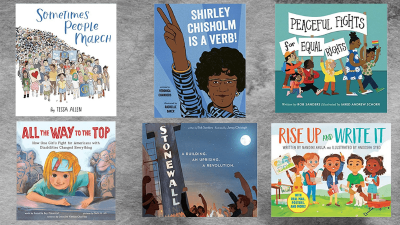 Collage of six books about activism for the classroom