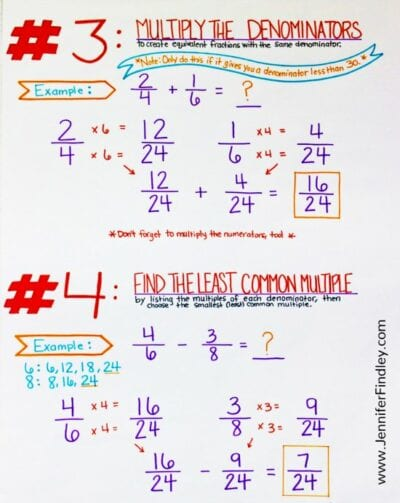 Making common denominators for fractions anchor chart steps 3 and 4