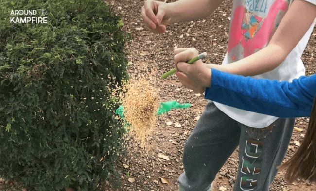 Children's hands exploding a balloon with seeds flying out