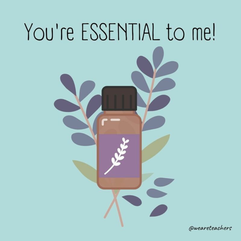 """Cartoon of an essential oil bottle with a sprig of lavender behind it. Text above image says, """"You're essential to me!"""""""
