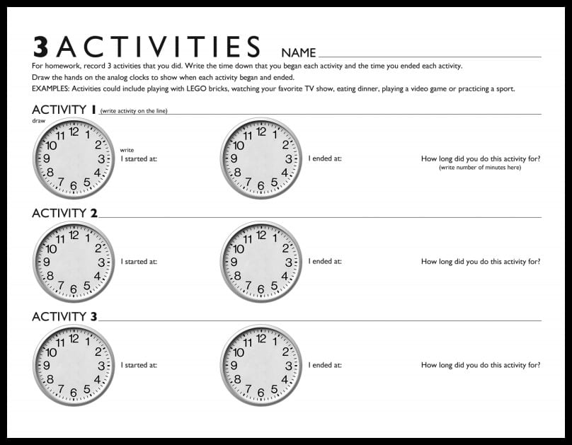 3 Activities time telling free printable worksheet