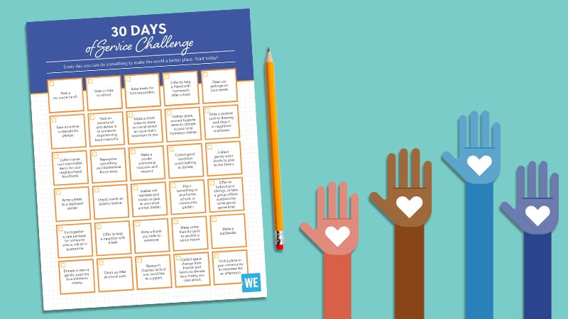 Flay lay of 30 days of service challenge