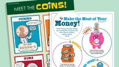illustration of money saving worksheets for kids financial literacy lesson plans
