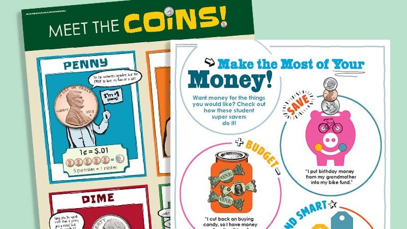 illustration of money saving worksheets for kids financial literacy lesson plans