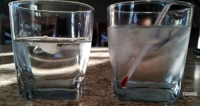 Two glasses of water, one with ice and a thermometer
