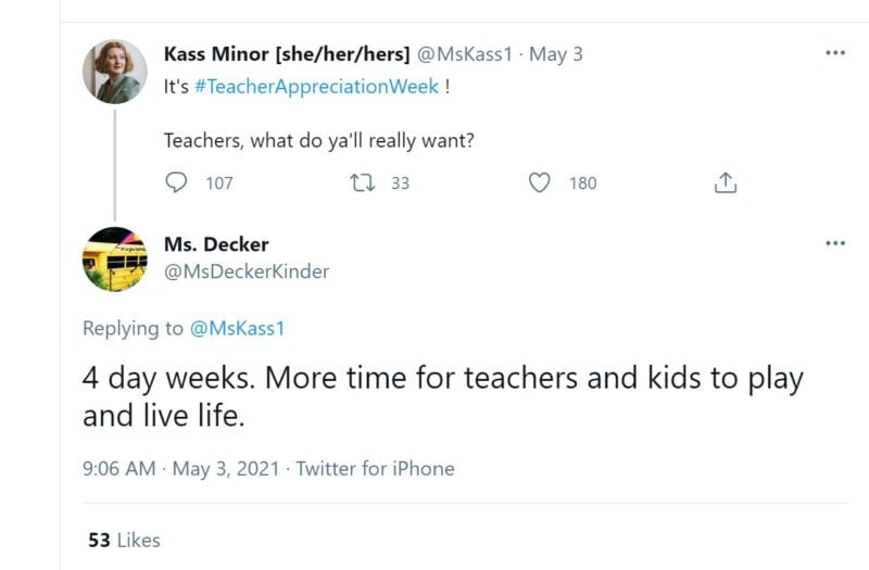 Teachers really want 4 day weeks