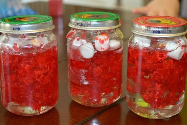 Glass jars full of corn syrup, red candy, and marshmallows (Fourth Grade Science)