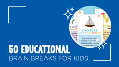 Still of 50 educational brain breaks for kids to try.