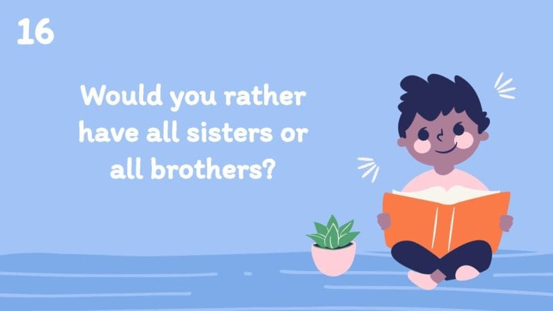Would you rather have all sisters or all brothers?