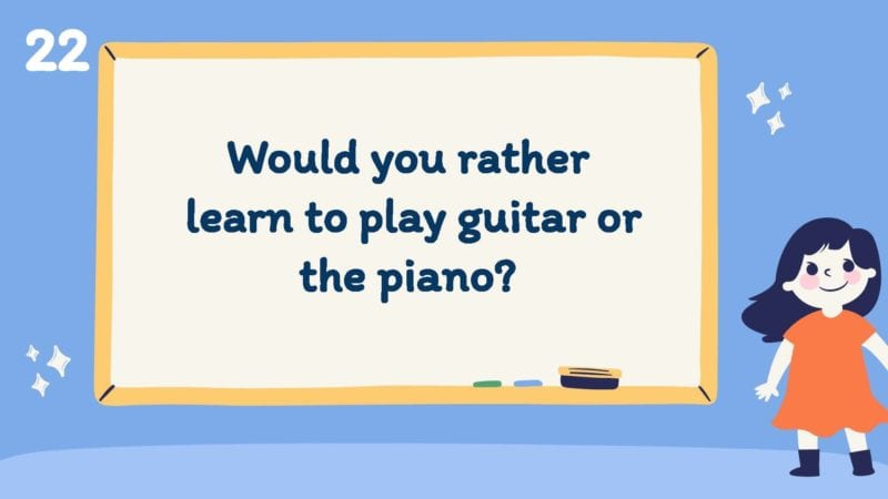 Would you rather learn to play the guitar or the piano?