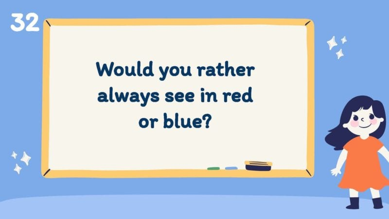 Would you rather always see in red or blue?