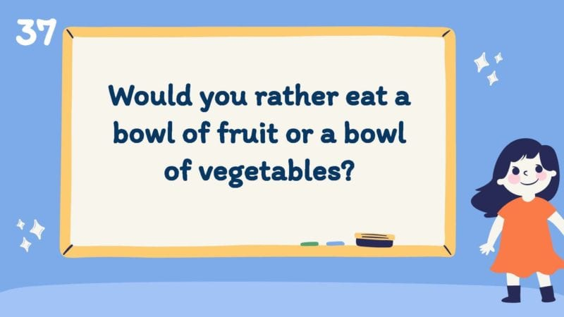 Would you rather eat a bowl of fruit or a bowl of vegetables?