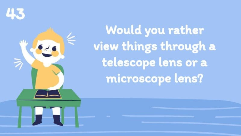 Would you rather view things through a telescope lens or a microscope lens?