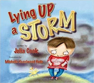 Book cover for Lying Up a Storm as an example of children's books that teach social skills