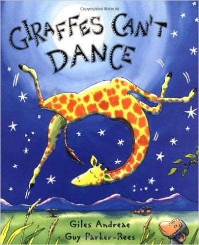 Book cover for Giraffes Can't Dance as an example of children's books that teach social skills
