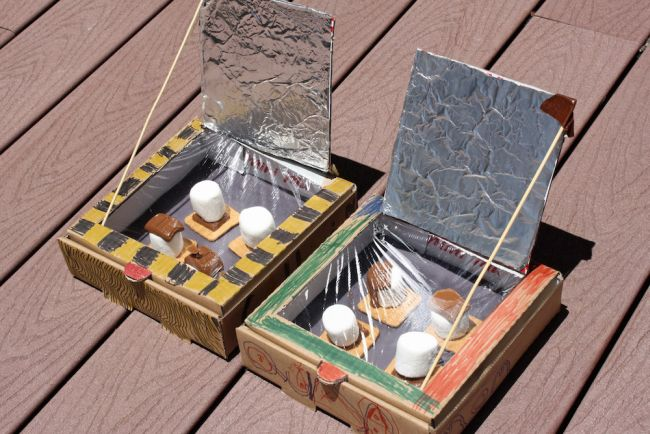 Solar ovens built from pizza boxes, with marshmallows, chocolate, and graham crackers (Fifth Grade Science)