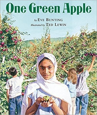 Book cover for One Green Apple as a example of social justice books for kids