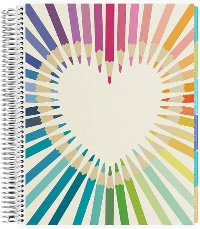 Rainbow pencil teacher planner cover