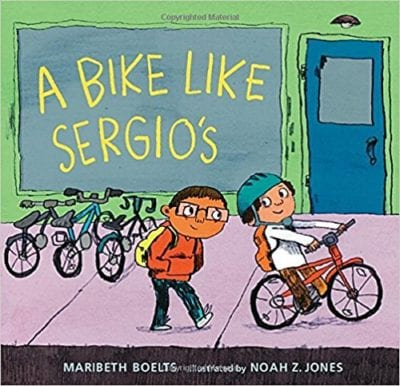 Book cover for A Bike Like Sergio's as an example of mentor texts for narrative writing