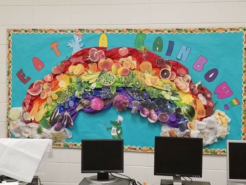 Eat a rainbow classroom bulletin boards