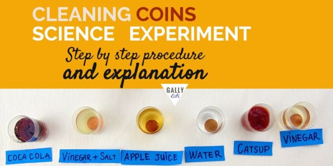Pennies in containers of cola, vinegar and salt, apple juice, water, catsup, and vinegar (Easy Science Experiments)