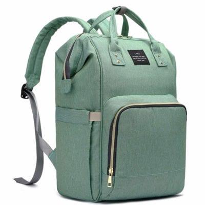 Aqua diaper bag backpack with front zipper pocket