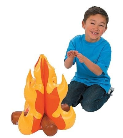 Pretend inflatable campfire