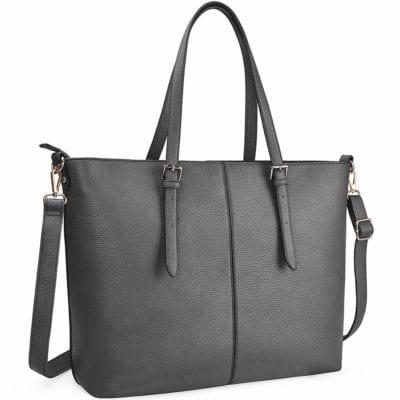 Black leather-look tote bag with adjustable handles and shoulder strap