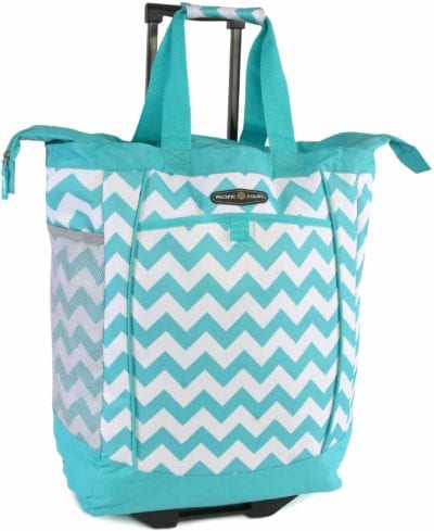 Aqua chevron striped shopping bag with wheels and extendable handle