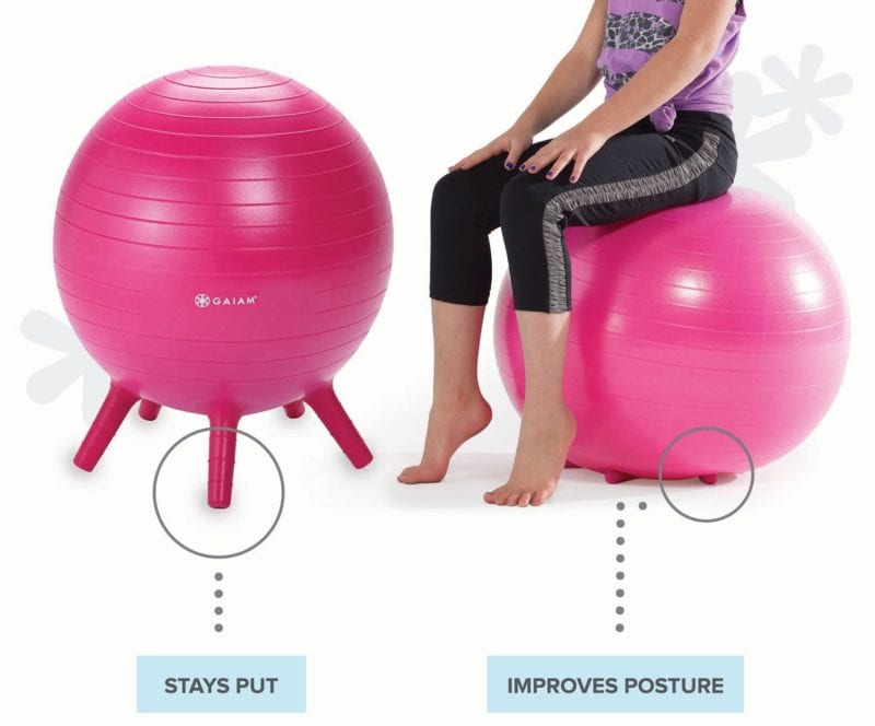 Stay-Put Balance Ball standing on legs and with legs collapsed when student sits on it
