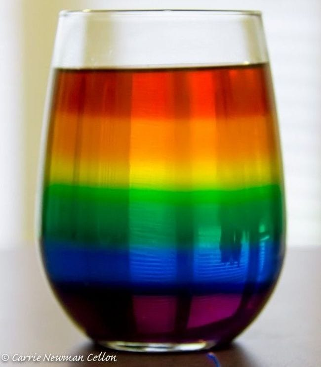 Stemless wine glass holding a rainbow of layered liquids (Seventh Grade Science)