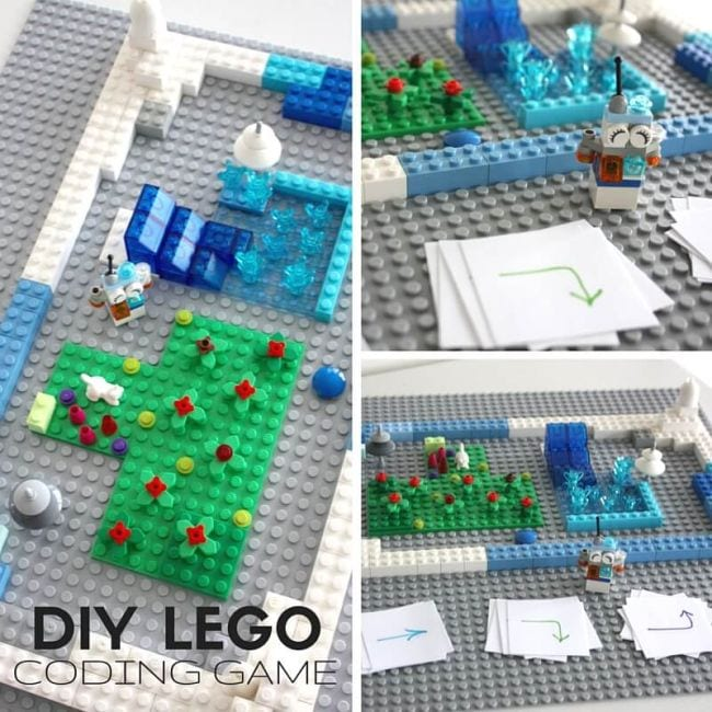 Collage of LEGOs arranged alongside coding symbol cards (Seventh Grade Science)