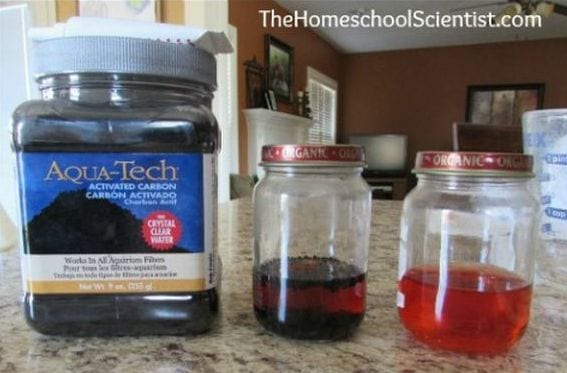 Bottle of powdered activated charcoal next to two jars of colored water (Seventh Grade Science)