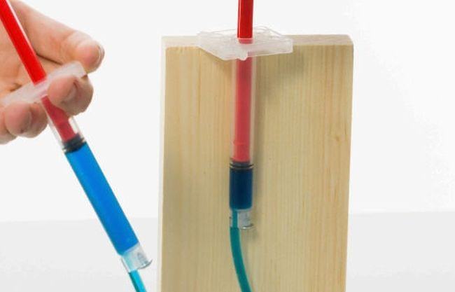 Student's hand holding a syringe connected to plastic tubing