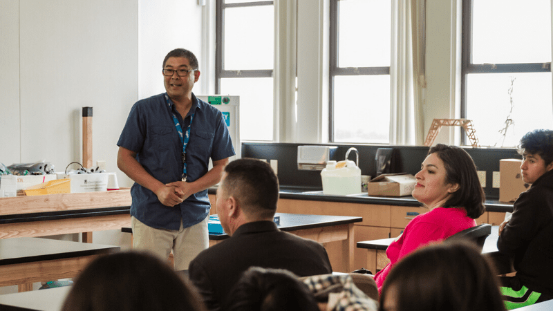 Michael Naka, science teacher at Garvey Intermediate Campus in Rosemead, addresses local officials and eighth-grade science students at the conclusion of an innovative air quality curriculum. Photo: Maria Hedrick