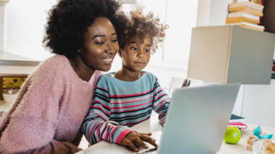 Mother and daughter looking at laptop - To help us prepare for whatever the new school year holds, educators share their most important lessons learned about communication during distance learning