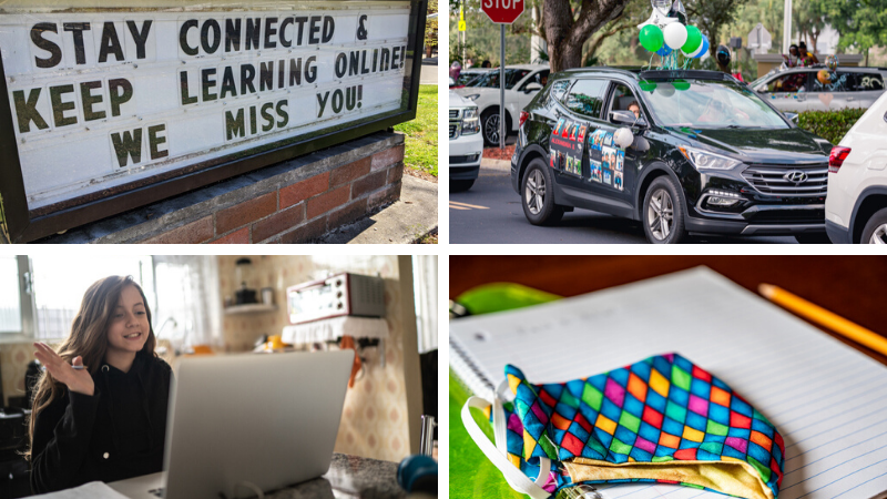 """Four images during Covid-19 including a virtual meeting, mask, drive through parade, and a sign saying, """"Stay Connected."""""""