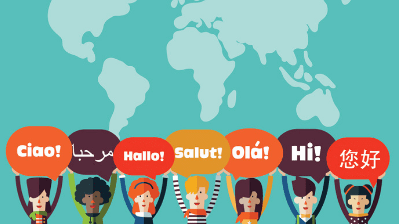Map with children holding up speech bubbles that say hello in different languages.