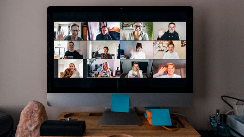 Teaching Community faces on computer screen