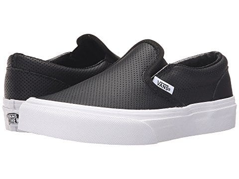 Vans slip on in black leather with white sole (Teacher Shoes)
