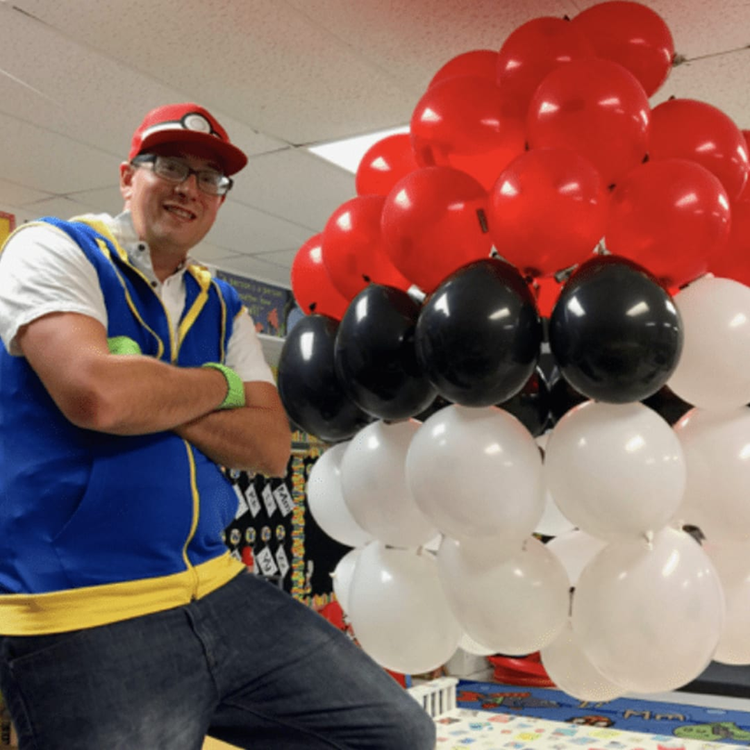 A teacher dressed up as a Pokemon trainer to help his students have the best day ever.