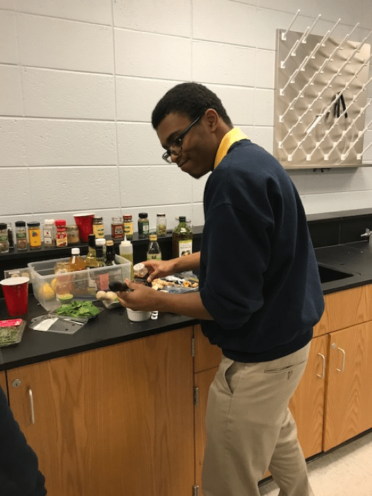 A high school English student in a cooking lab – Professional Development for Teachers