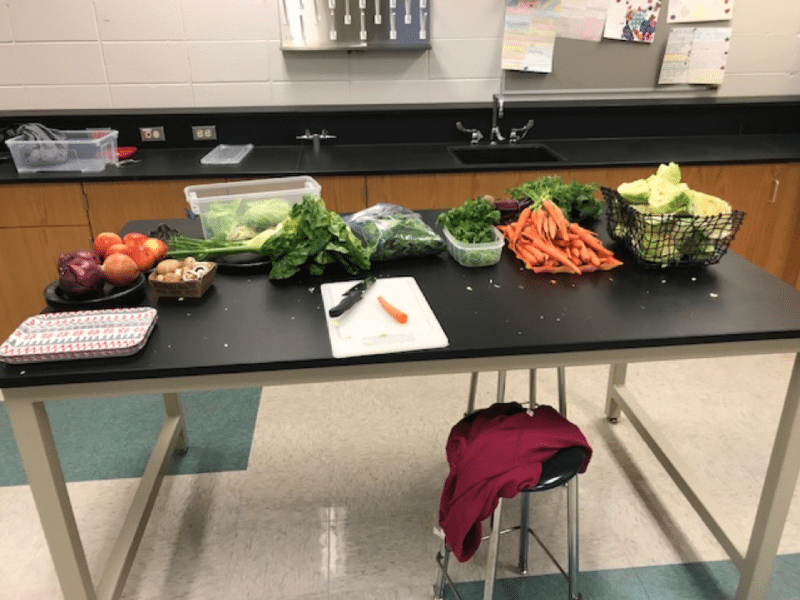 A table of fresh vegetables in a high school cooking lab – Professional Development for Teachers