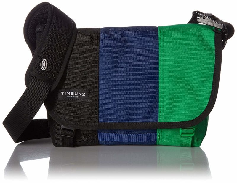 Timbuk2 messenger bag striped in black, blue, and green with black strap