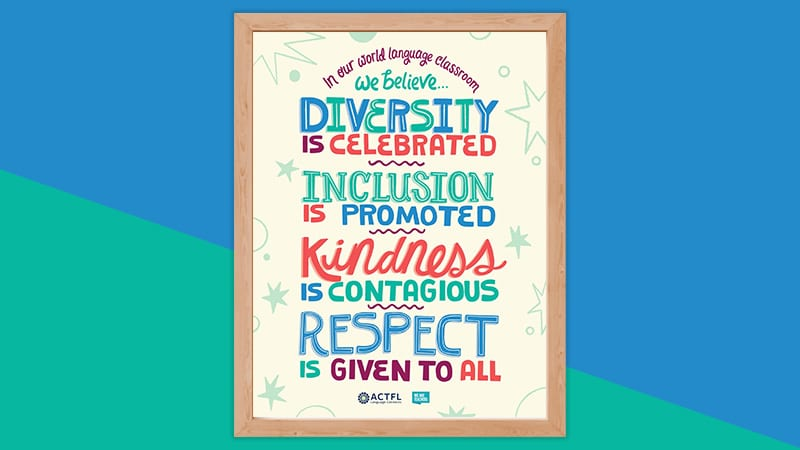 ACTFL Full Diversity and Inclusion world language classroom poster