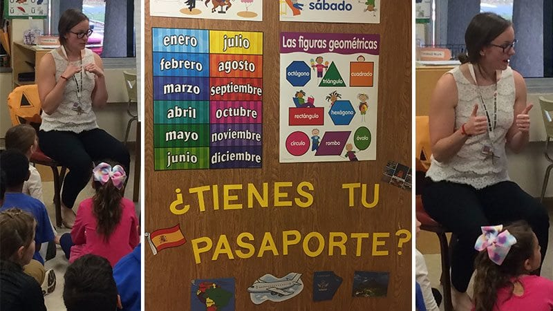 Collage of images from a Spanish classroom, including language teacher sitting on a chair talking to students sitting on floor and a bulletin board with Spanish words for months and shapes.