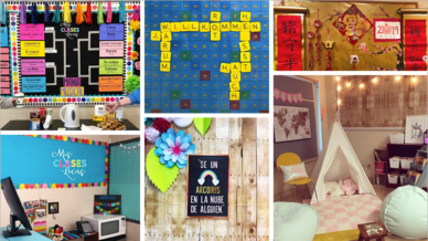 Collage of world language class bulletin board and activity ideas