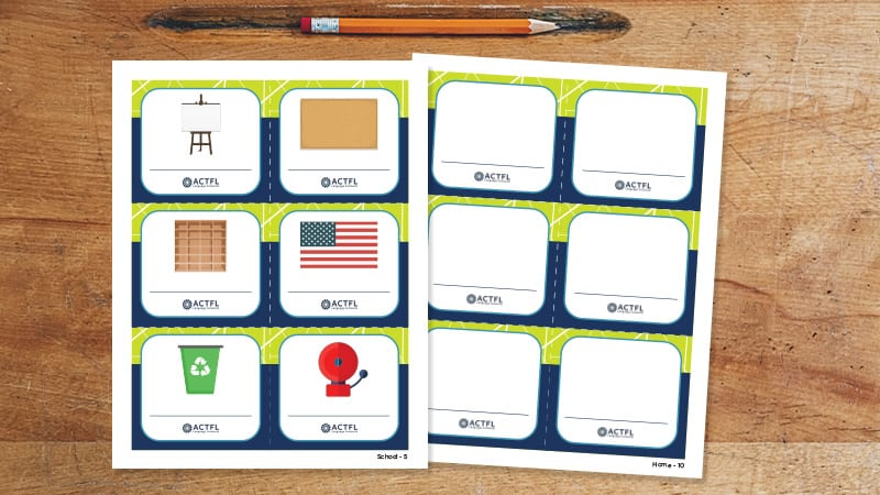 Blank and Create-Your-Own World Language Labels on a desk